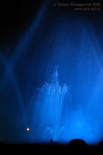 Podświetlone grające fontanny
