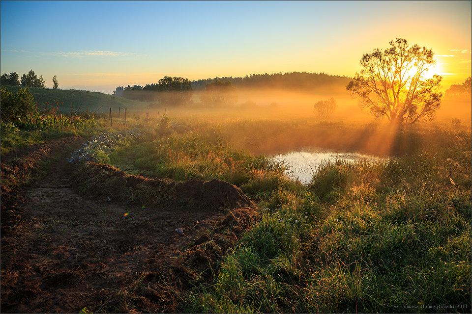 Wschód słońca nad stawem na Mazurach Garbatych